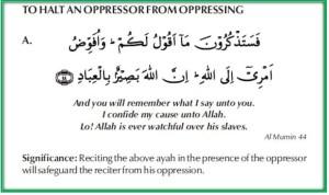to halt an oppressor