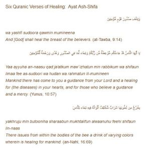 Six Quranic Ayats for Healing Various Diseases